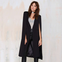 Black Long Sleeve Cape Midi Coat