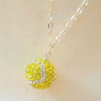 Crystal Tennis Ball on 16 inch chain with extension