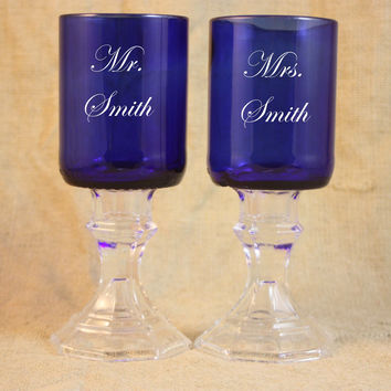 Wine Goblets, Set of 2 Blue Wedding Goblets, Wedding Toast, Personalized Wedding Goblets, Upcycled Wine Bottle Goblets, Sand Etched Image