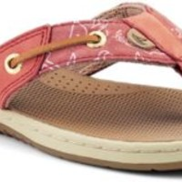 Sperry Top-Sider Seafish Thong Sandal WashedRed/WhalePrint, Size 12M  Women's Shoes