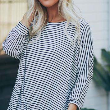 Striped Knot Tee Black/Ivory