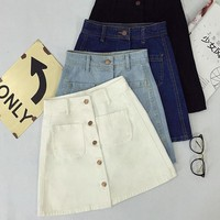 High Waisted Denim Pencil Skirt