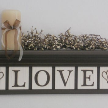 "Personalized Family Name Signs 24"" Shelf with 6 Wooden Letter Tiles Painted Chocolate Brown and White Customized LOVE with Hearts"