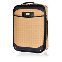 Beige square quilted suitcase