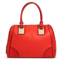 Women's Gold Hardware Satchel Handbag - Red