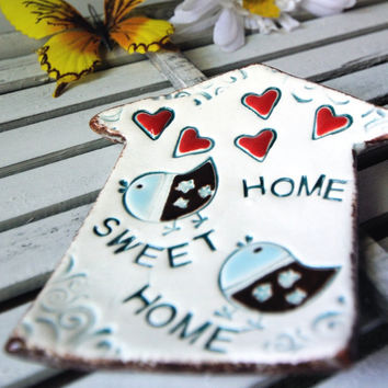 Ceramic House Plate in White with Blue and by KettleSongPottery