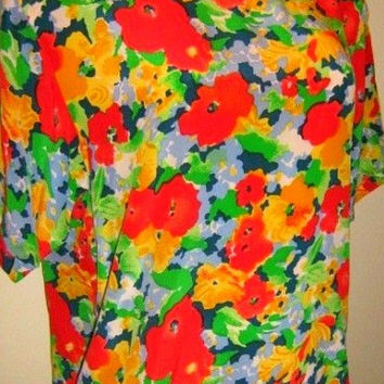 Oscar de la Renta Size L Top Large Woman Pure Silk Floral Blouse Yellow Red Flowers