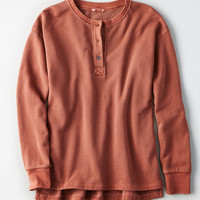 AE Henley Crew Sweatshirt, Brick Red