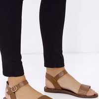 Steve Madden Donddi Tan Leather Flat Sandals