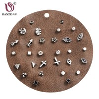 DANZE 12 Pairs/lot Unique Design Vintage Small Stud Earrings Set For Women Punk Elephant Cross Geometric Animal Ear Studs Aros