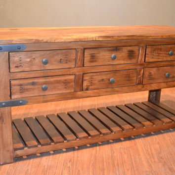 Rustic Solid Wood Sideboard Buffet / Console Table / Sofa Table /  Media TV Stand