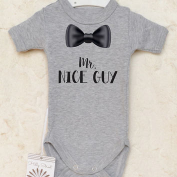 Baby Boy Bow Tie Bodysuit. Mr. Nice Guy Baby Boy Romper. Coming Home Baby Clothes. Cake Smash Outfit. Infant Boy Clothing.
