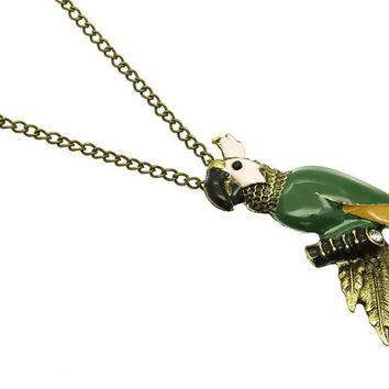 Mulit Color Parrot Charm Link Necklace