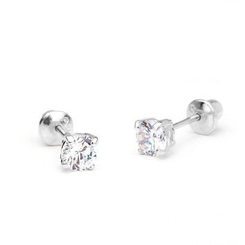 Sterling Silver .925 Round CZ Stud Basket Earrings Screw Back for kids/women