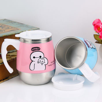 Cartoon Mickey BayMax Creative tea cup milk cups and mugs tumbler thermocup 500ml 304 stainless steel thermos coffee mug