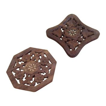 Pre-owned Wooden Trivets With Mother of Pearl Inlay