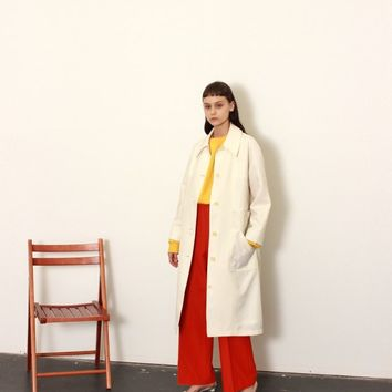 60s Minimalist Canvas Trench / M