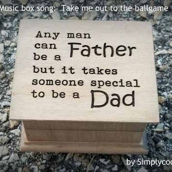 Father's day gift, music box, wooden music box, dad gift, gift for dad, dad music box, last minute gift, Take me out to the ballgame,