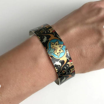 Wide Metal Cuff Bracelet, silver aluminum adjustable boho bohemian bangle stacking black bright colorful birthday gift gifts for her