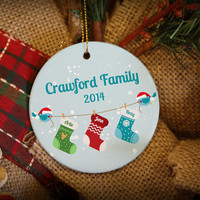 Personalized Christmas Stockings for Family of 3 or 4. Custom Christmas Ornament!