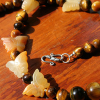 Butterfly Necklace - Tiger Eye and Jade, Feminine Jewelry Gifts, Semi Precious Gemstone, Fall colours, Hippy Chic, Natural Jewelry,