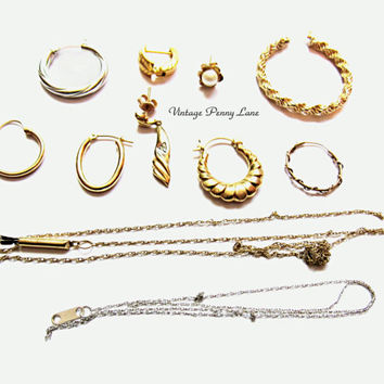 Vintage Scrap Gold Jewelry / Jewellery Pieces, 14k, 10k