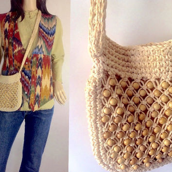 70s Walborg  Macrame Wood Bead Shoulderbag  Hippie Crossbody Small Hippie Bohemian Boho Purse Macreme Cross Body Japan Japanese Accessory