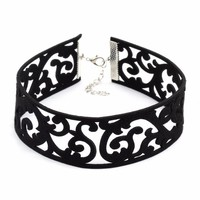 Black Goth Choker Necklace Women Velvet