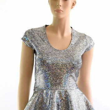56f767ae194 CoquetryClothing CoquetryClothing on Etsy  39.99. Silver on Black Shattered  Glass Scoop Neck Cap Sleeve Peplum Top Lycra Spandex Crop Top 152402