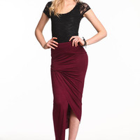 ASYMMETRICAL WRAP MAXI SKIRT