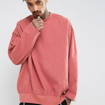 ASOS Oversized Over The Head Shirt In Raspberry at asos.com