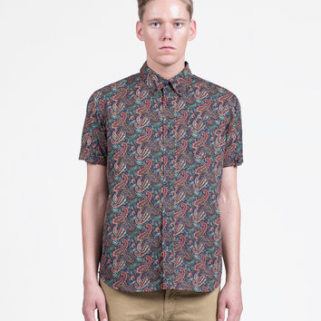 Paisley Button Down Shirt in Forest