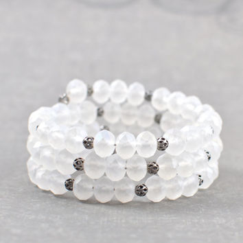 White Bracelet Frosted White Faceted Czech Glass and Antiqued Silver Beaded Wrapped Bracelet Stackable Bracelet Handmade Bracelet