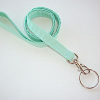 Lanyard  ID Badge Holder - mint green - THINNER design  - Lobster clasp and key ring