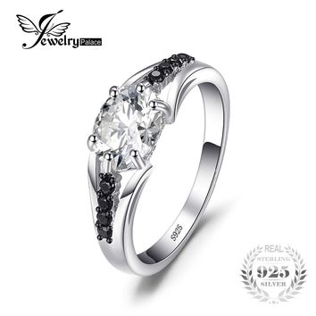 JewelryPalace Fashion 1.68ct Cubic Zirconia & Black Spinel Women Engagement Wedding Ring Solid 925 Sterling Silver Fine Jewelry