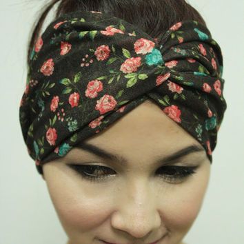 Hippie Turban Twist headband, Red Flower Happy Summer head piece ,Spring Collection