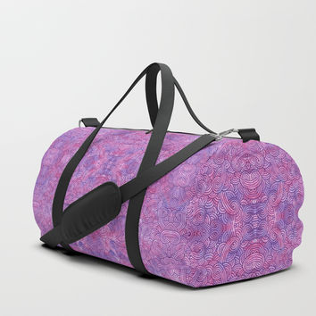 Hot pink and purple swirls doodles Duffle Bag by savousepate