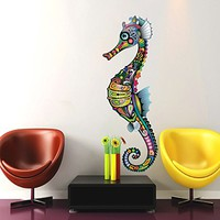 Abstract Seahorse Wall Decals Full Color Seahorse Colorful Floral Patterns Flowers Sea Horse Wall Vinyl Decal Stickers Bedroom Nursery