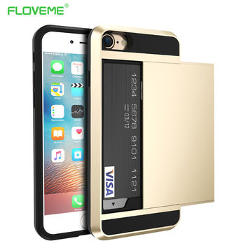 FLOVEME For Apple iPhone 6 4.7 Plus 5.5 7 Cool Hybrid Case Slide Card Holder Dual Layer Hard Soft Armor Luxury Cover 6 6s Plus