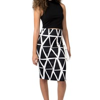 No Rules Geometric Pencil Skirt