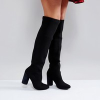 Glamorous Black Block Heel Over The Knee Boots at asos.com