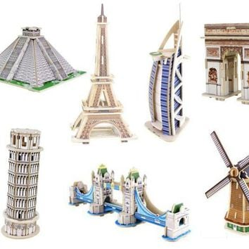 2017 New 3D Wooden Puzzle DIY Model Building Kits World Famous Architecture for Children Adults