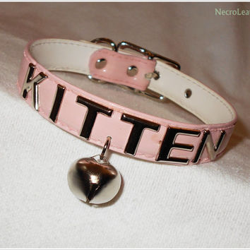 Pink Customizable Kitten Bell Collar - Vegan Pink PVC Kawaii Submissive Collar