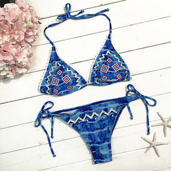 Blue Ice Cold Ocean Halter Swimsuit Bikini Set