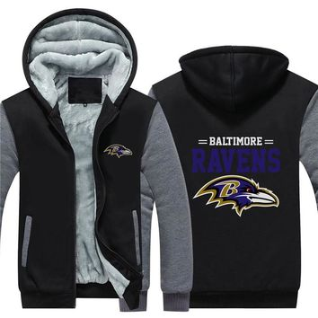 NFL American football Men's winter casual jacket Warm thicken hoodies Baltimore Ravens