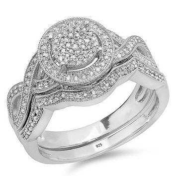 0.50 Carat (ctw) Sterling Silver Round White Diamond Womens Micro Pave Engagement Ring Set