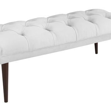 "Colette 49"" Tufted Velvet Bench, White, Bedroom Bench"