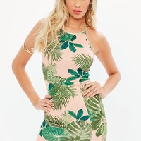 Missguided - Pink Scuba 90s Neck Tropical Print Bodycon Dress