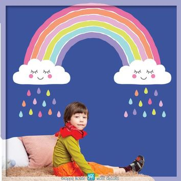 Rainbow wall decal - Rainbow decal - Rainbow sticker - Nursery Rainbow and Clouds - Bedroom rainbow decor for kids