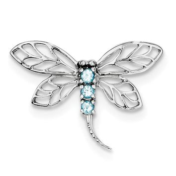 Sterling Silver Genuine Light Swiss Blue Topaz Dragonfly Slide Pendant